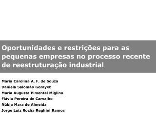 Maria Carolina A. F. de Souza Daniela Salomão Gorayeb Maria Augusta Pimentel Miglino