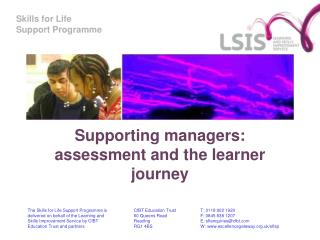 Supporting managers:  assessment and the learner journey