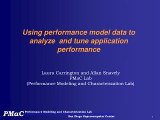 Using performance model data to analyze  and tune application performance
