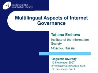 Multilingual Aspects of Internet Governance