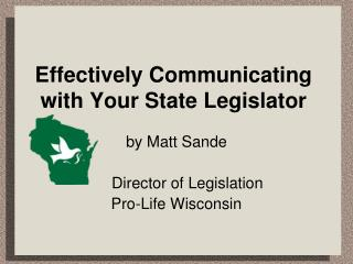 Effectively Communicating with Your State Legislator