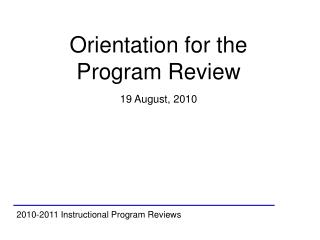 2010-2011 Instructional Program Reviews