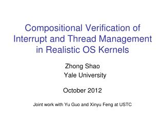 Compositional Verification of  Interrupt and Thread Management  in Realistic OS Kernels