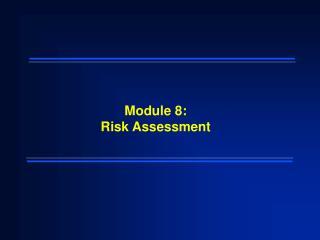 Module 8: Risk Assessment