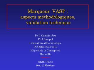 Marqueur  VASP : aspects méthodologiques,  validation technique
