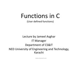 Functions in C (User defined functions)