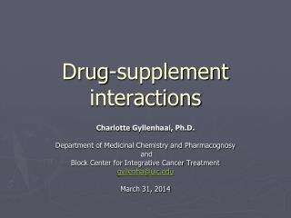 Drug-supplement interactions