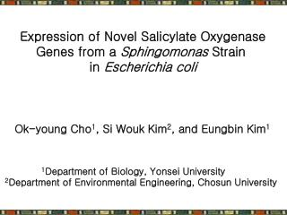Expression of Novel Salicylate Oxygenase Genes from a  Sphingomonas  Strain  in  Escherichia coli