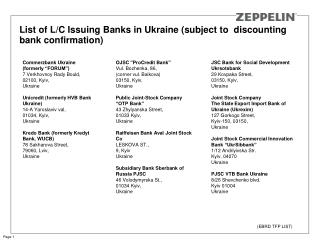 List of L/C Issuing Banks in Ukraine (subject to  discounting bank confirmation)