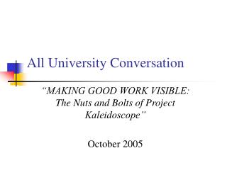 All University Conversation