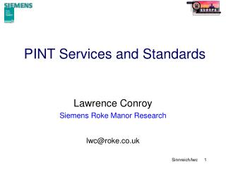 PINT Services and Standards