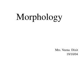 Morphology Mrs. Veena  Dixit 19/10/04