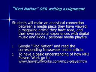 """ iPod Nation"" OER writing assignment"