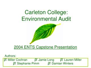 Carleton College: Environmental Audit