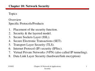 Chapter 10: Network Security Topics Overview Specific Protocols/Products