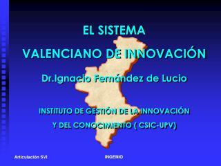 EL SISTEMA VALENCIANO DE INNOVACIÓN Dr.Ignacio Fernández de Lucio