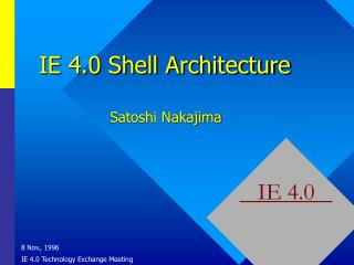 IE 4.0 Shell Architecture