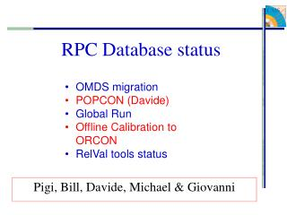 RPC Database status