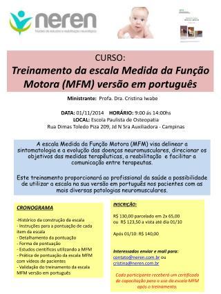 CURSO: Treinamento da escala Medida da Função Motora (MFM) versão em português
