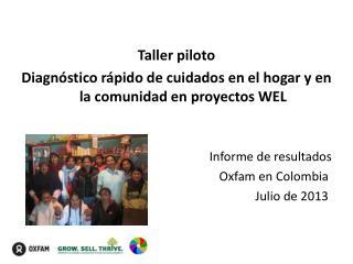 Taller piloto Diagnóstico rápido de cuidados en el hogar y en la comunidad en proyectos WEL