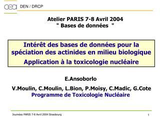 Atelier PARIS 7-8 Avril 2004