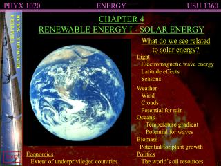 CHAPTER 4 RENEWABLE ENERGY I - SOLAR ENERGY