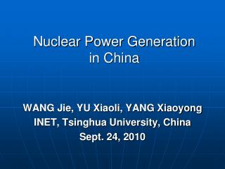 Nuclear Power Generation in China