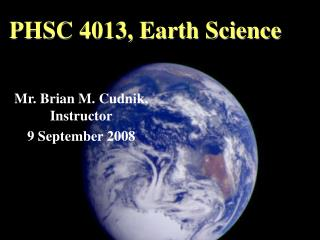 PHSC 4013, Earth Science