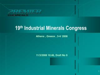 19th Industrial Minerals Congress