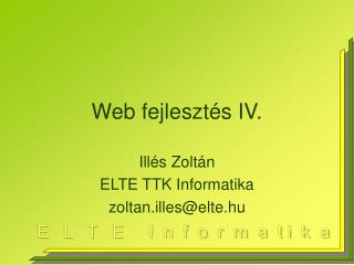 Web fejlesztés IV.