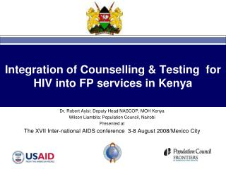 Integration of Counselling & Testing  for HIV into FP services in Kenya