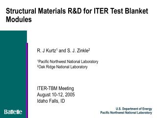 Structural Materials R&D for ITER Test Blanket Modules