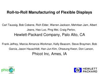 Roll-to-Roll Manufacturing of Flexible Displays