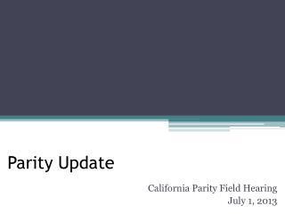 Parity Update