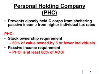 Personal Holding Company (PHC)
