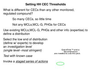 Setting HH CEC Thresholds What is different for CECs than any other monitored, regulated compound?