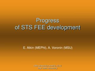 Progress of STS FEE development