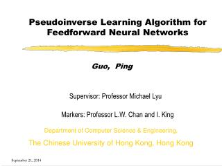 Pseudoinverse Learning Algorithm for Feedforward Neural Networks