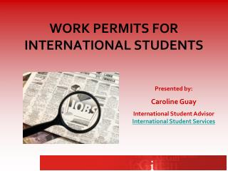 WORK PERMITS FOR INTERNATIONAL STUDENTS