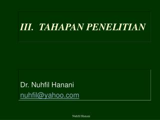 III.  TAHAPAN PENELITIAN