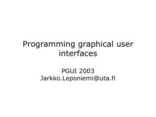 Programming graphical user interfaces