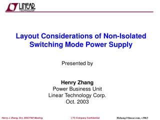 Layout Considerations of Non-Isolated Switching Mode Power Supply