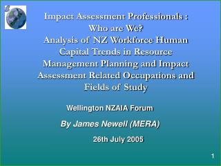 Wellington NZAIA Forum By James Newell (MERA)