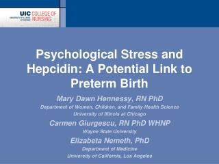 Psychological Stress and Hepcidin: A Potential Link to Preterm Birth