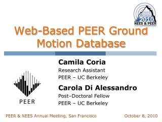 Web-Based PEER Ground Motion Database