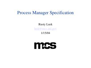 Process Manager Specification