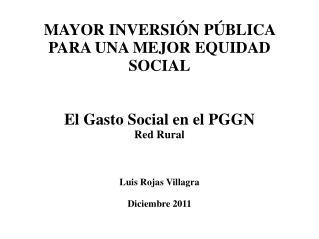 MAYOR INVERSIÓN PÚBLICA PARA UNA MEJOR EQUIDAD SOCIAL El Gasto Social en el PGGN Red Rural