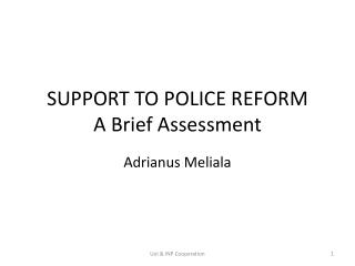 SUPPORT TO POLICE REFORM A Brief Assessment