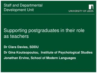 Supporting postgraduates in their role as teachers