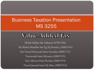 Business Taxation Presentation MS 3255